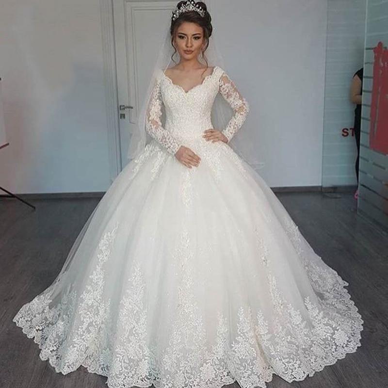 Honey Qiao Wedding Dresses 2017 Full Long Sleeve Lace White Muslim