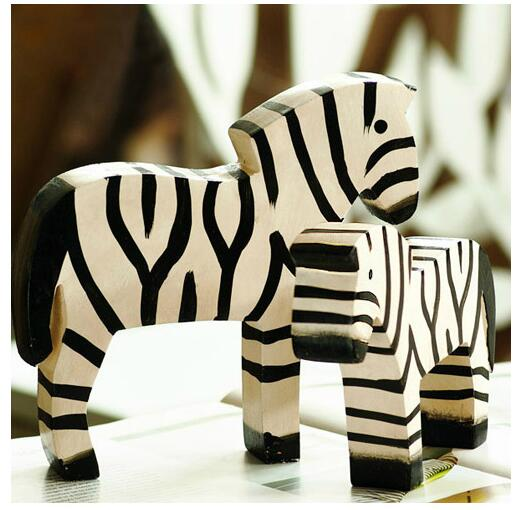 2pcs lot northern europe zebra figurines creative wood for Home decor gifts