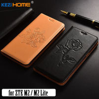 For ZTE Nubia M2 Lite Case KEZiHOME Fashion Genuine Leather Embossing Flip Stand Leather Cover Capa