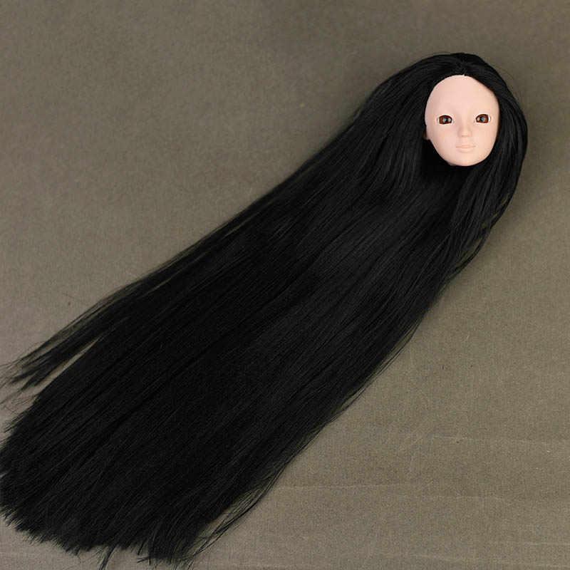 """1 шт., макияж, 12 суставов, BJD, кукла, тело для 11,5 """", BJD, кукольный домик и 1/6, голова куклы, модные длинные черные волосы, без макияжа, голова"""