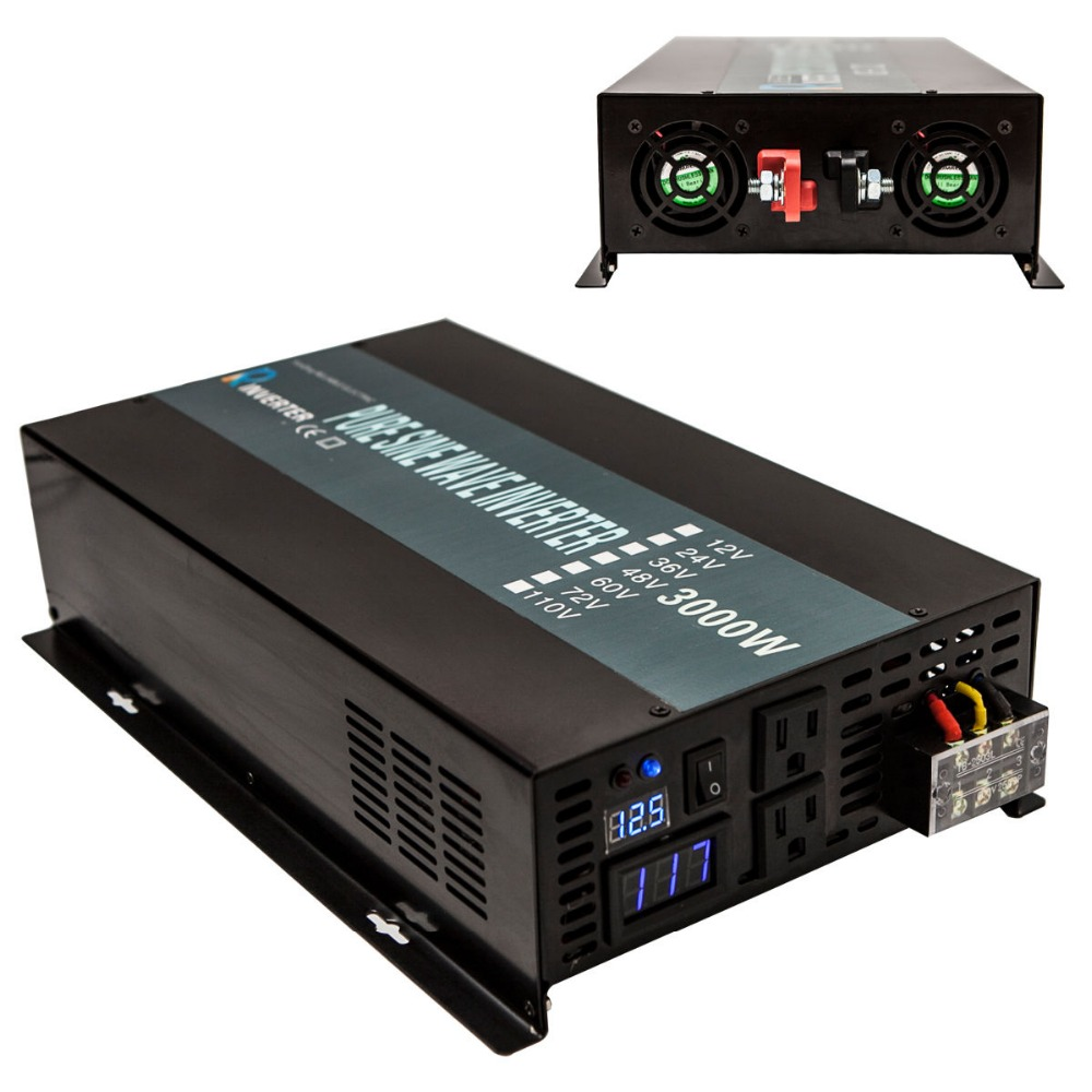 Panneau solaire Onduleur 24 v à 220 v 3000 w Sinusoïdale Pure Wave Power Inverter Convertisseur Alimentation 12 v /48 v DC à 110 v/120 v/230 v/240 v AC