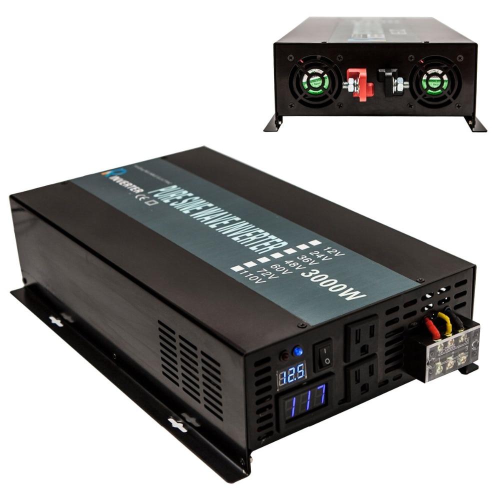 Solar Panel Inverter 24V to 220V 3000W Pure Sine Wave Power Inverter Converter Power Supply 12V/48V DC to 110V/120V/230V/240V AC