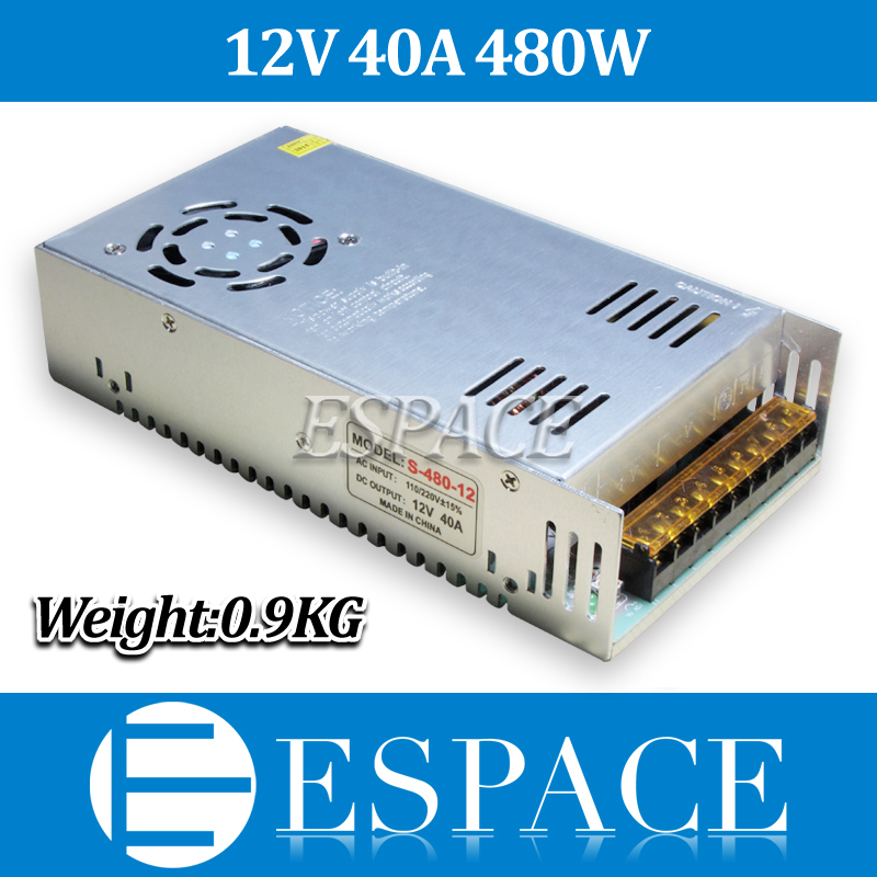 New Arrival 12V 40A 480W Switching Power Supply Driver for LED Strip AC 100-240V Input to DC 12V free shipping 2015new 180w 12v 15a switching power supply driver for led strip ac 100 240v input to dc 12v free shipping