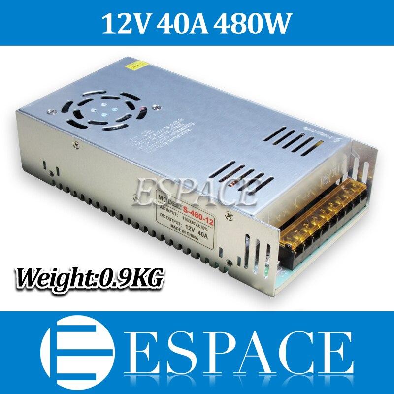 Nueva llegada 12 V 40a 480 W Fuentes de alimentación conmutada Driver para tira de LED AC 100-240 V entrada a DC 12 V envío libre