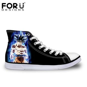 cefa3aa39a3e FORUDESIGNS Anime Dragon Ball Z Print Mens High-top Vulcanized Shoes Cool  Super Saiyan Son Goku Canvas Shoes for Men Boy Flats