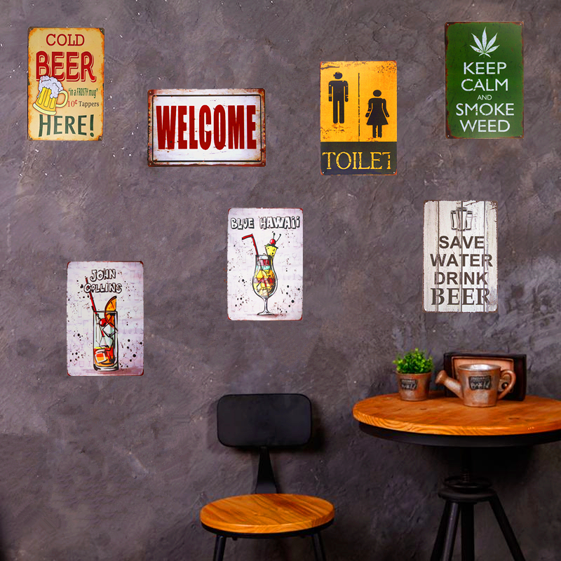 Beer House Vintage Metal Tin Sign Wall Plaque Cocktail Poster Restaurant Tavern Pub Bar Home Wall Decor 20*30
