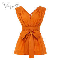 Young17 Sexy Top 2017 Summer Women Orange Solid Bow Sashes V Neck Girls Beach Shirt Female