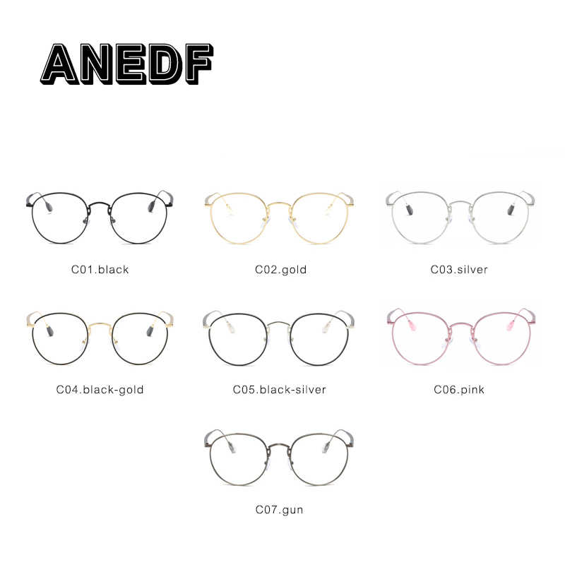 8f8004e107a ... ANEDF Small Round Glasses Clear Lens Unisex Gold Round Metal Frame  Glasses Frame Men Women Black ...