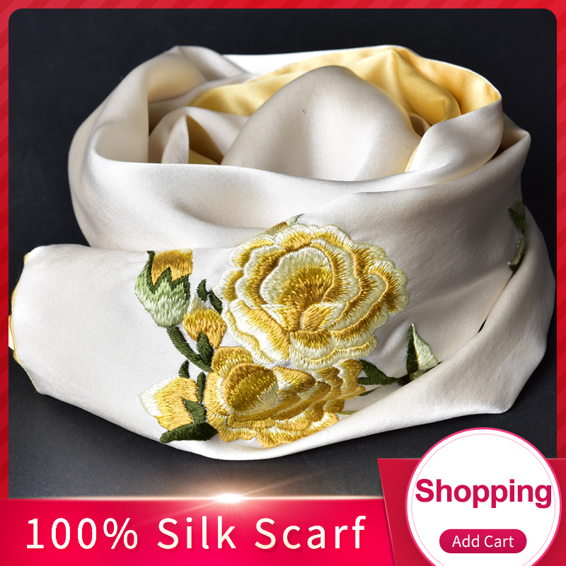 100% Pure Silk Scarf Luxury 2019 Hangzhou 16 mm Silk Shawls and Wraps for Women Handmade Embroidery Natural Real Silk Scarves