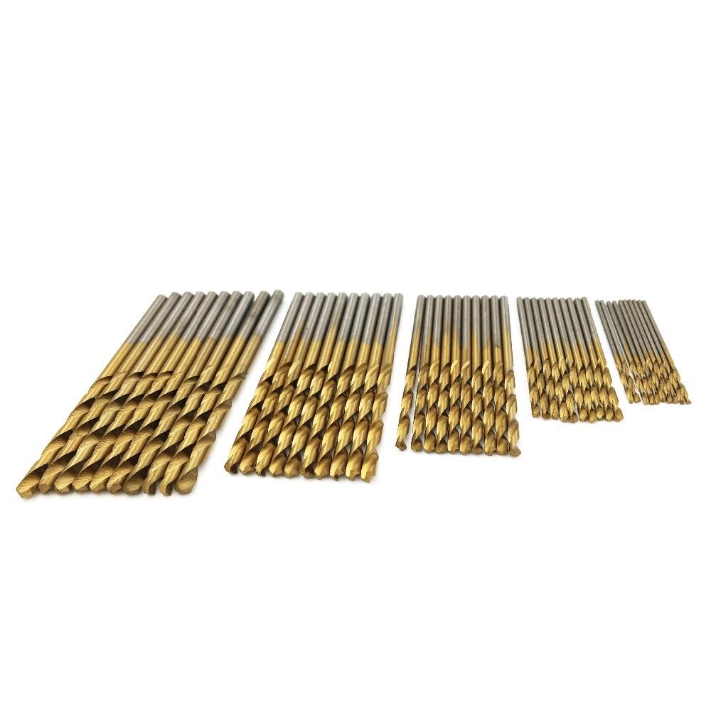 50 db fém csavart fúrókészlet fűrészkészlet HSS magas acél titán bevonatú fúró famegmunkáló fa szerszám 1 / 1,5 / 2 / 2,5 / 3mm