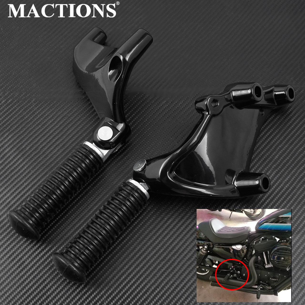 Motorcycle Rear Passenger Foot Pegs Mount Black Pedal For Harley Sportster Iron 883 1200 XL 48 72 SuperLow 2014-2019