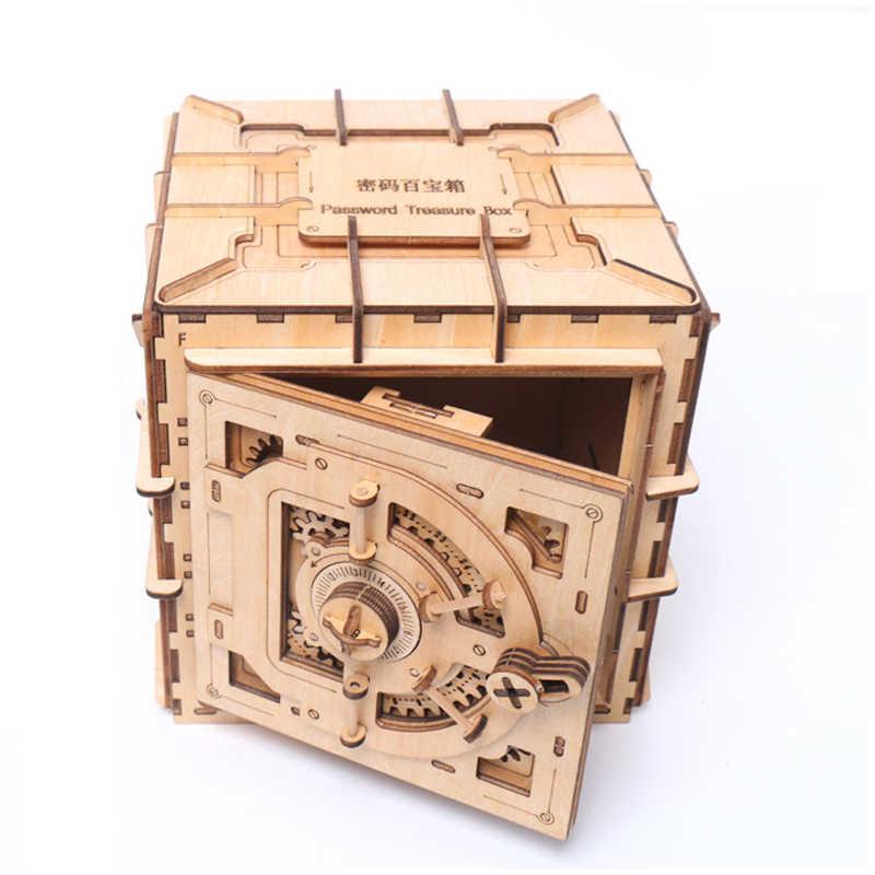 شخصية نموذج ميكانيكي اقفال الصناديق خشبية ثلاثية الأبعاد الإملائي إدراج حصالة على شكل حيوان لعبة الإبداعية لتقوم بها بنفسك خشبية آمنة الطفل هدية