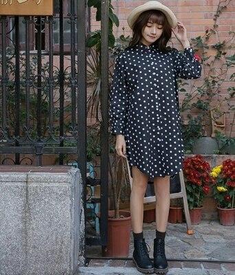 Plus Size Women Shirts Polka Dot Fat Younger Sister Cotton Open Blouse Shirt Black 3592