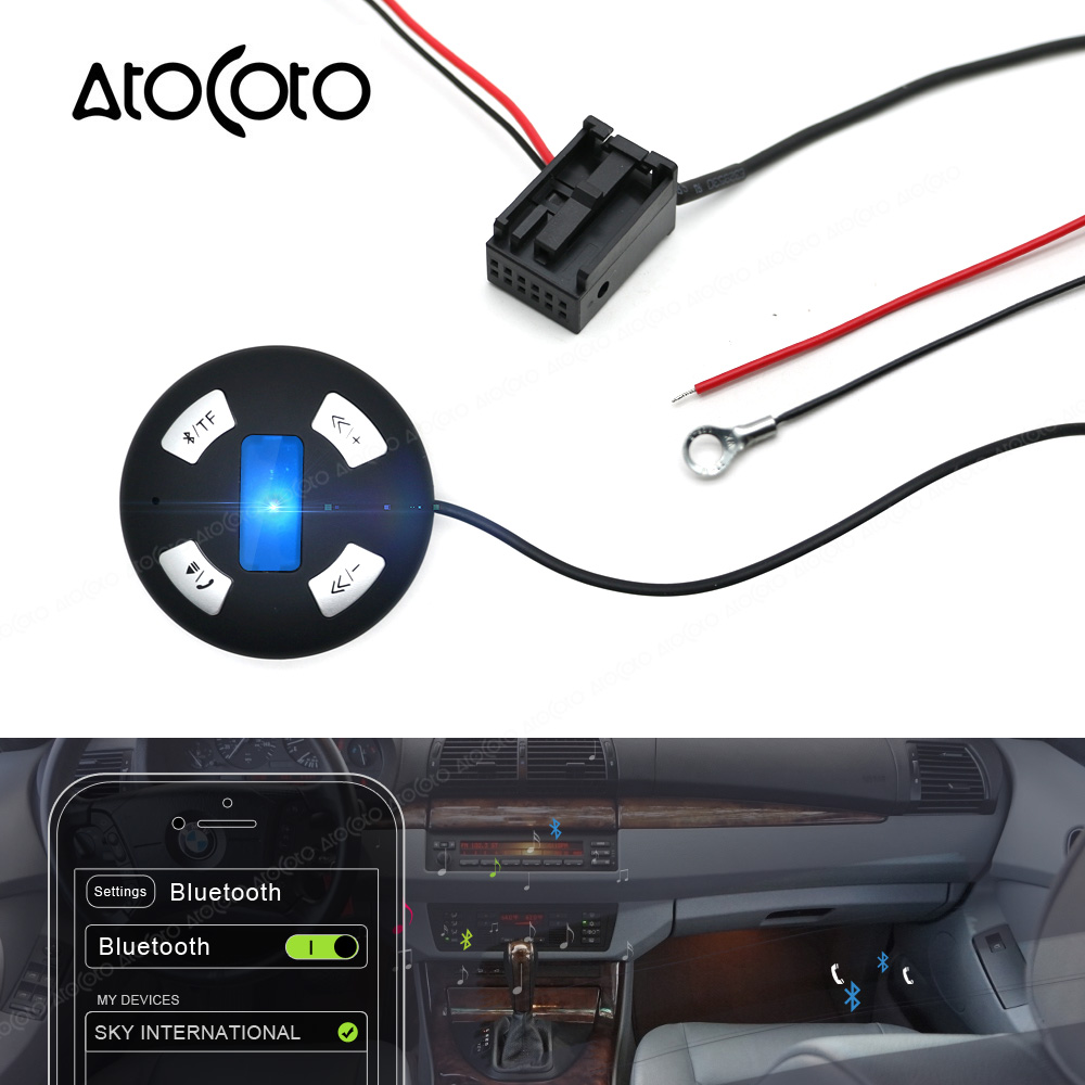 bluetooth car kit 12 pin plug module aux receiver adapter for bmw e60 e61 e39 cd [ 1000 x 1000 Pixel ]