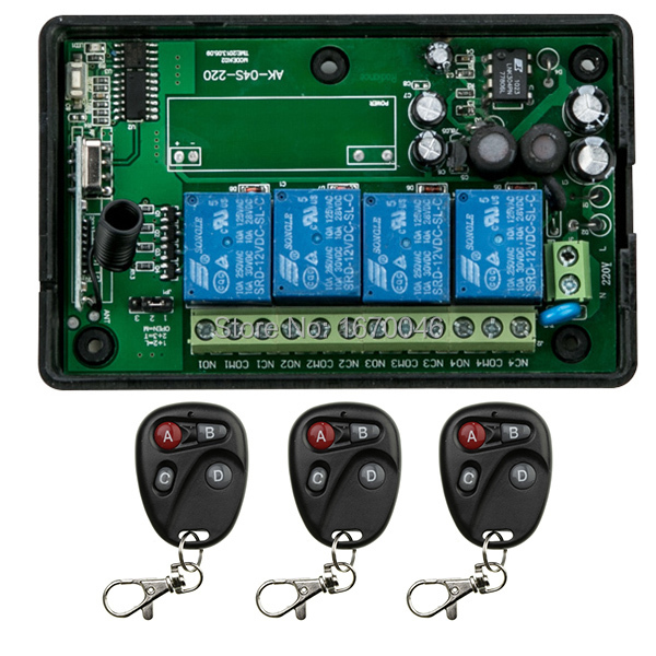 2015 NEW AC110V 220V 4CH RF Wireless Remote Control System / Radio Switch remote switch 220v Learning code receiver ac 220v 1channel 10a rf wireless remote control switch system 4 receiver