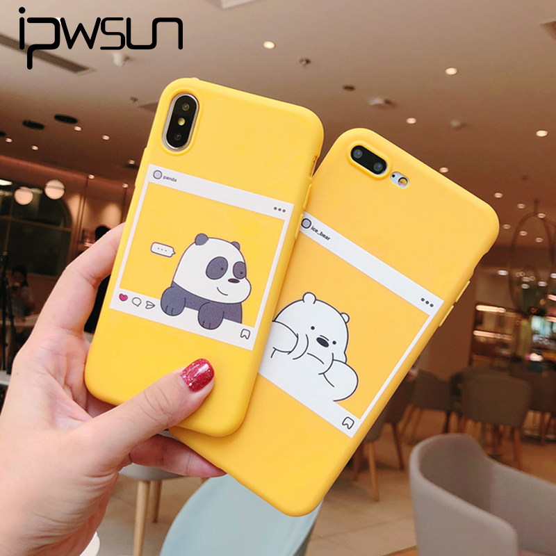 iPWSOO <font><b>Phone</b></font> <font><b>Case</b></font> For <font><b>iphone</b></font> X XS Max XR 6 6S <font><b>7</b></font> 8 Plus Soft TPU Back Cover <font><b>Kawaii</b></font> Bear Panda Pattern Yellow <font><b>Cases</b></font> Cover image