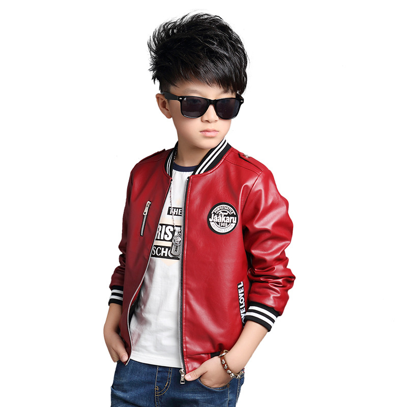 16c15fd50742 Autumn Teenage Boys PU Leather Jacket 2017 Brand Quality Bomber Jacket Big Boys  Outerwear Children Casual