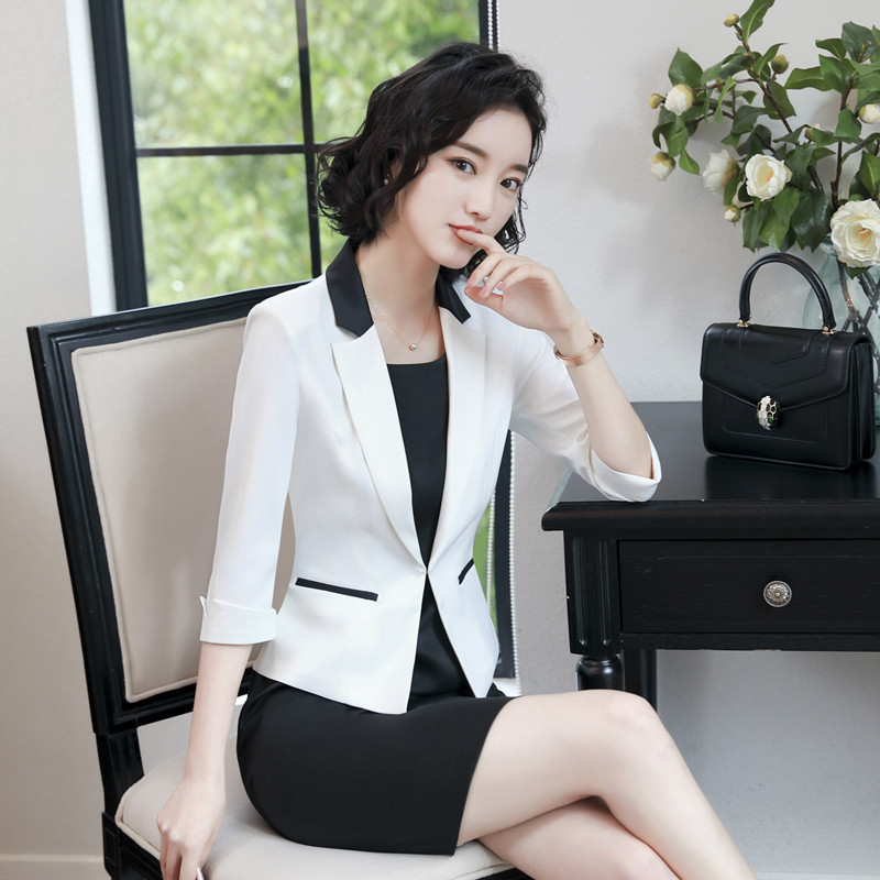 2018 Spring 3 Quarter Sleeve Small Suit Lady Formal Work Occupation Dress Suit Blazer Jacket