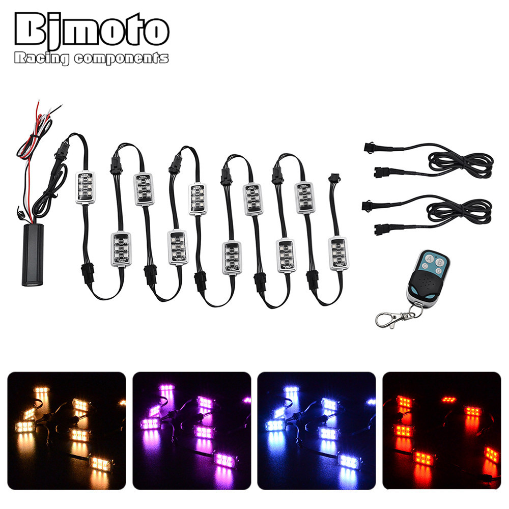 BJMOTO 50W 12V 10 PODS RGB Rock Lights 60 LED Wireless Remote Control Motorcycle Accent Neon Style Light Kit IP67