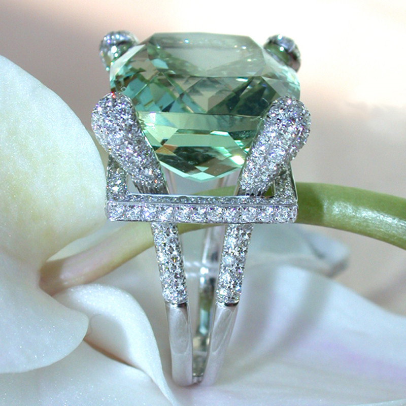 Large Green Stone Engagement Ring White Crystal Ring Silver Color Rings for Womeh Wedding Jewelry Anel Anillos Mujer F5Q355 Кольцо