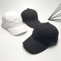 Solid Black White Distressed Baseball Caps Men Women Summer New Fashion Water Washed Special Snapback Cap