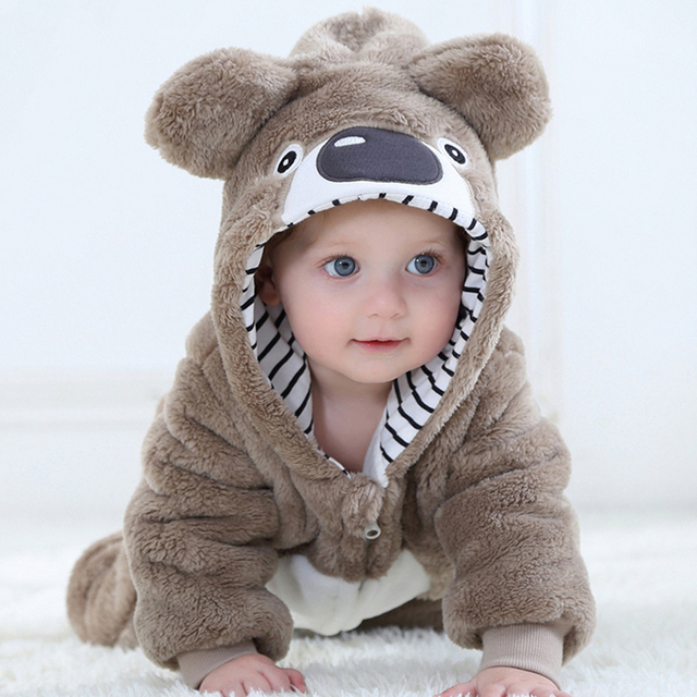 Lovely Flannel Totoro Koala Romper jumpsuit for 0-24 Months Baby Cartoon Hooded Animal Infant Onesie Toddler Overalls Clothes