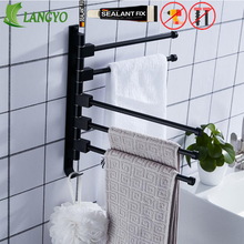 3/4/5bars Bathroom Accessories Towel Holder Swivel Bars Bath Rack Rail Bathroom towel Rack Black rotatable revolvable towel rack new and brief 2 4 swivel towel bars copper wall mounted bathroom towel rail rack gold bathroom towel holder towel hanger