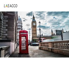 Laeacco Old Telephone Booth City Big Ben London Town Street Scenic Photographic Backgrounds Photography Backdrops Photo Studio