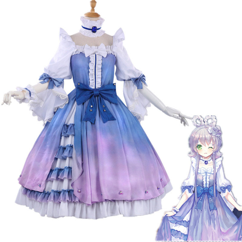 Luo Tianyi Cosplay Costumes VOCALOID Blue Princess Dresses Synthetic Wigs Hair For Women Girls Role Play Party Stage Clothing