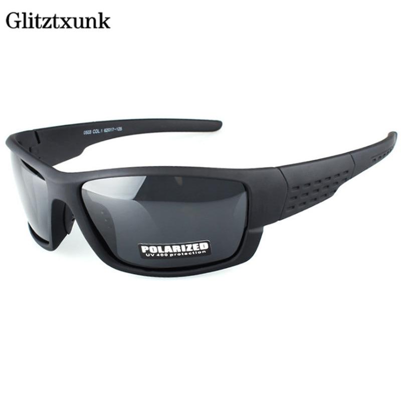 Glitztxunk Polarized Sunglasses Men Brand Designer Square Sports Sun Glasses for Men Driving Black Frame Goggle UV400 okulary