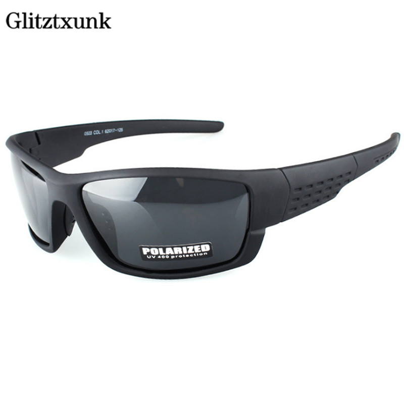 Glitztxunk Polarized Sunglasses Men Brand Designer Square Sports Sun Glasses For Men Driving Black Frame Goggle UV400 Okulary