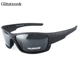 Glitztxunk Polarized Sunglasses Men Brand Designer Square Sports Sun Glasses for Men Driving Black Frame Goggle UV400 okulary(China)