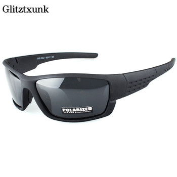 Glitztxunk Polarized Sunglasses Men Brand Designer Square Sports Sun Glasses for Men Driving Black Frame Goggle UV400 okulary yellow lens matel frame men polarized sunglasses uv400 driving glasses for men 4 colors with box