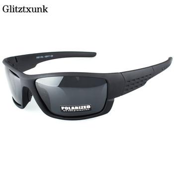 Glitztxunk spolaryzowane okulary mężczyźni marka projektant kwadratowe sportowe okulary przeciwsłoneczne dla mężczyzn jazdy czarne oprawki gogle UV400 okulary tanie i dobre opinie CN (pochodzenie) SQUARE Dla dorosłych Z tworzywa sztucznego Antyrefleksyjną Lustro 40mm Polaroid 368D 70mm Blue + Bright black Blue + Sand black