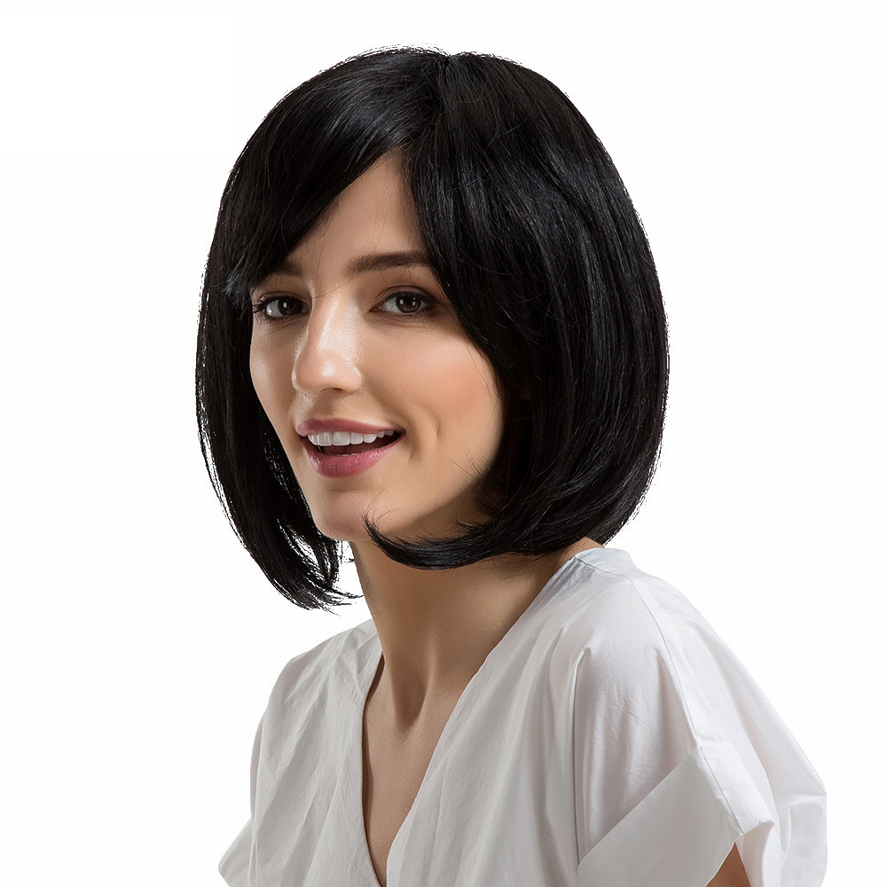 2018 Short Wig Black Shoulder Length Bobo Wigs With Bangs Medium Hair Human Hair Wigs short bob wigs body wave glueless lace front wigs human hair wigs for black women