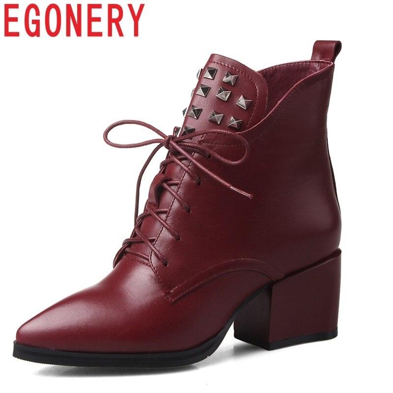 Più Stivali Dimensioni Lace Donna up Red Rivet A Del Quadrati Egonery  Dimensione Della Genuino Scarpe Caviglia Di Nuovo Cuoio ... d17f62e5f80
