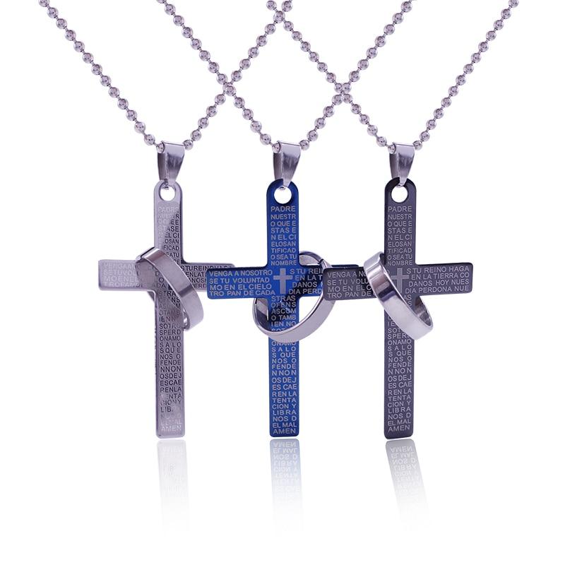 Модні хрестові кулон намиста з віршів Біблії Ісуса моляться хрестиком пара з бісеру ланцюг зачарування чокер, намисто кольє подарунок