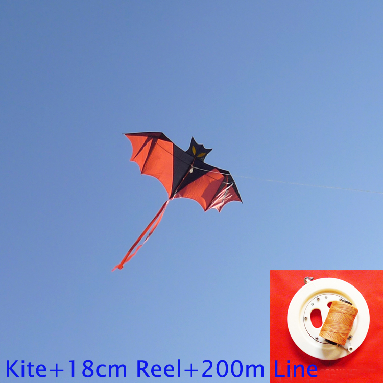 free shipping high quality flying bat kite with handle line outdoor flying toy nylon ripstop children