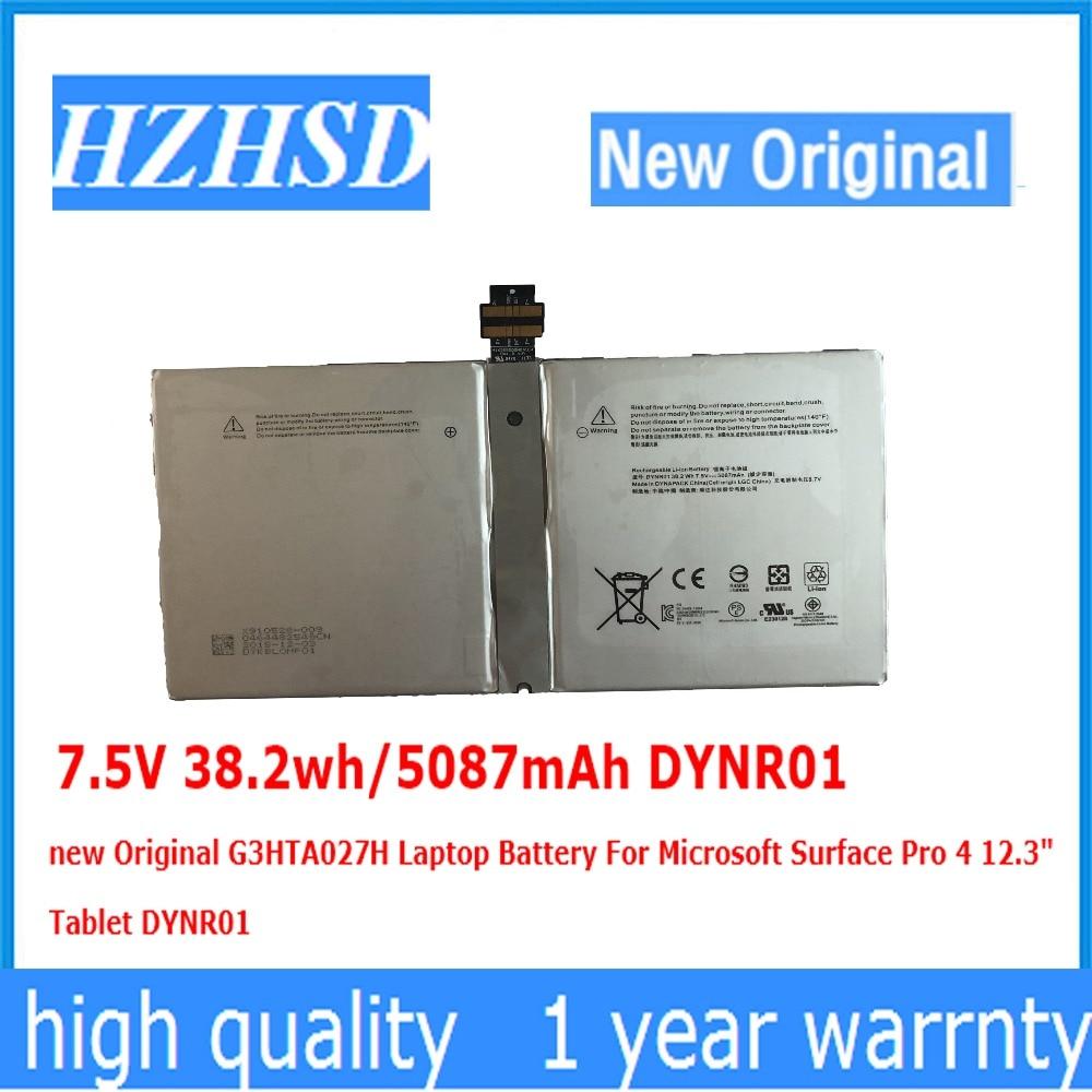 7.5 v 38.2wh/5087 mah DYNR01 new Original G3HTA027H Batterie D'ordinateur Portable Pour Microsoft Surface Pro 4 12.3