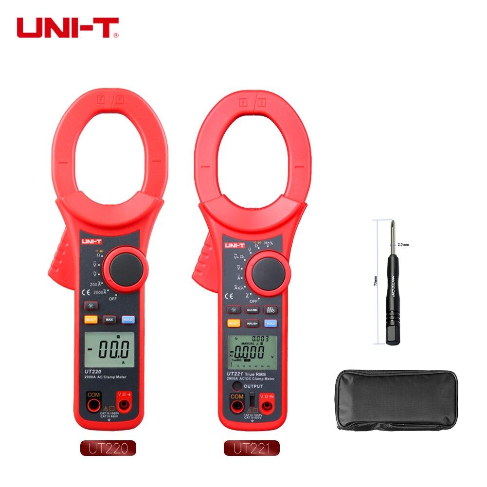UNI-T Digital Clamp Meter UT221 UT220 AC DC 2000A Ammeter True RMS Auto Range Frequency Ohmmeter Low Pass Filter Inrush Current цены