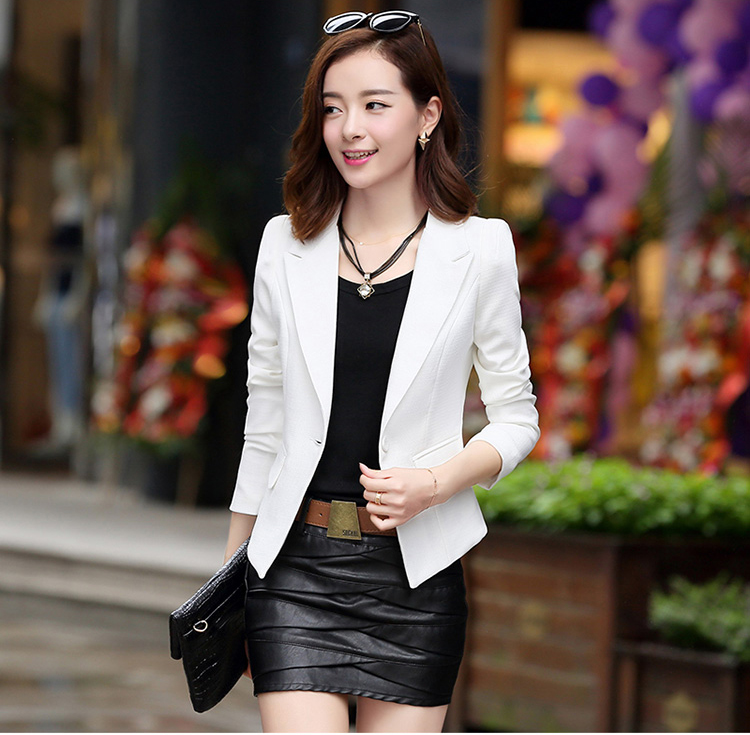 J60136 Fashion Blazer Office Lady Suit Long Sleeve Women Jacket Elegant Slim Coats Tops Multicolor High