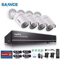 SANNCE 4CH 1080N 5 IN 1 Security DVR System HDMI 720P 1200TVL Weatherproof Outdoor CCTV Security Camera 1.0MP Surveillance Kit