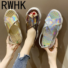 RWHK 2019 summer new little bear shoes thick bottom sandals fish mouth muffin Roman laser women B117