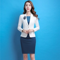 Formal Professional Business Work Wear Blazers Suits With Jackets Coat And Dress Slim Fashion Female Office