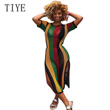 TIYE Sexy See Through Mesh Dress Stripe Short Sleeve Hollow Out Side Split Long Casual Beach Overalls Party Club Wear XXL