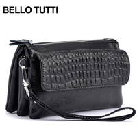 BELLO TUTTI Large Capacity Fashion Women Wallets Long Genuine Leather Wallet Female Zipper Clutch Coin Purse