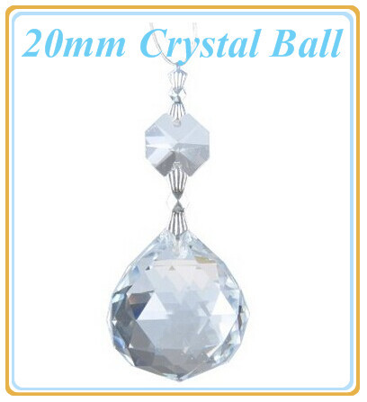 20 pcs/lot 20mm Clear Crystal Fengshui Ball+Bead Glass Chandelier Parts  Glass Lamp