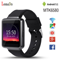 Lemado k1 android 5.1 os teléfono smart watch con mtk6580 CPU 512 + 8 GB de la ayuda 3G wifi Mp3 bluetooth para ios android teléfono