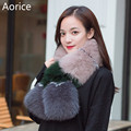 SCM055 Women's genuine real  Fox Fur Scarf Scarves Neck Warmer Wrap Cape Shawl Poncho snood color blocking trend scarf