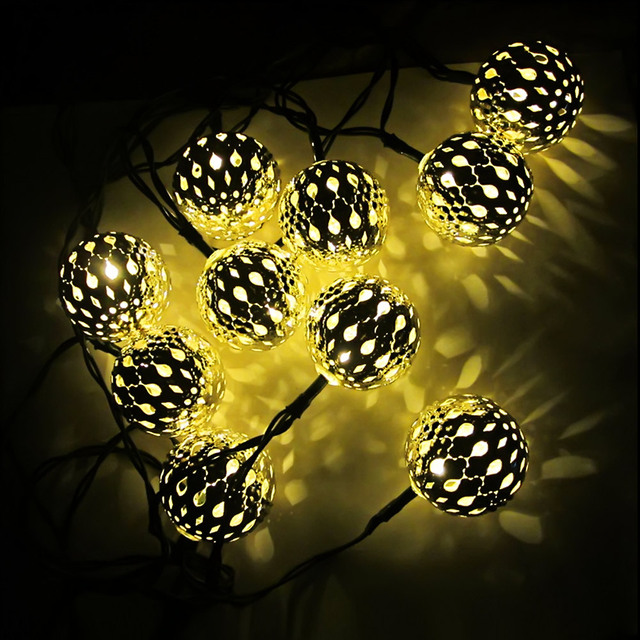 10 Bolas Marroquí Luces de Cadena Solar Powered LED Luces de Hadas de la boda de la Navidad al aire libre luces decorativas guirlande lumineuse